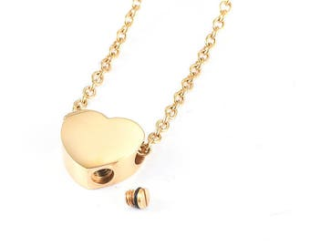 Cremation Urn Heart Charm Necklace ~ Gold ~ Pet Loss ~  Remembrance Memorial Jewelry ~ Bereavement Gift ~ Minimalist Cremation Necklace