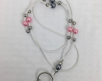 Beaded Lanyard, Beaded Badge Holder, White and Pearls, Pink and Grey, Nurse, Teacher, Badge Necklace