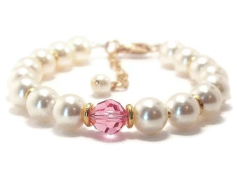 Baby Pearl Bracelet, Baby Bracelet, Birthstone Bracelet, Flower Girl Bracelet, Christening Bracelet, Girls Bracelet, Girls Jewelry (B38)