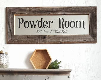 Powder Room Sign, Bathroom Sign, Bathroom Wall Decor, La Toilette, Reclaimed Wood Sign, Bathroom Wall Decor, Barn Wood Signs,