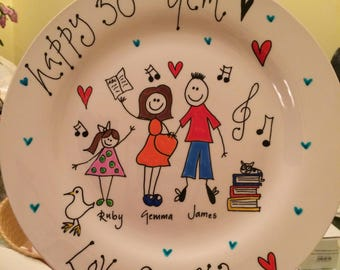 Hand painted family plates