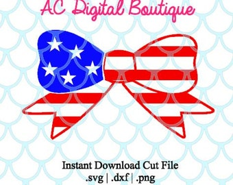 Flag Bow Digital Cut File--Instant Download--SVG, DXF, PNG Files for Cutting Machine Software
