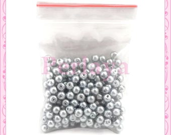 Set of 200 Pearl glass beads gray 4mm REF897