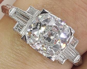 GIA 2.23ct Antique Vintage Art Deco Old Cushion Diamond Engagement Wedding Platinum Ring