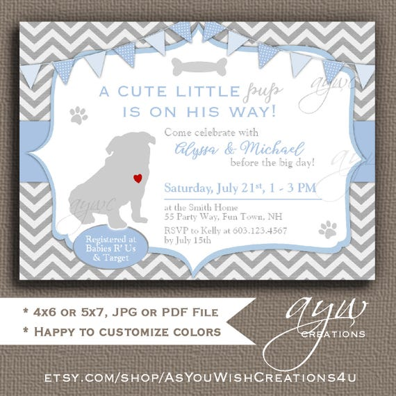 Pug baby shower invitation boy pug puppy baby shower like this item filmwisefo Image collections