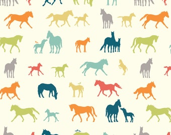 THE CHAMPION Multi Cream Horse Show 100% Cotton ORGANIC Quilt Fabric by the Yard, Half Yard or Fat Quarter from Farm Fresh by Birch Fabrics