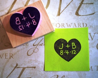 Custom wedding rubber stamp//heart wedding stamp// hand carved and hand crafted
