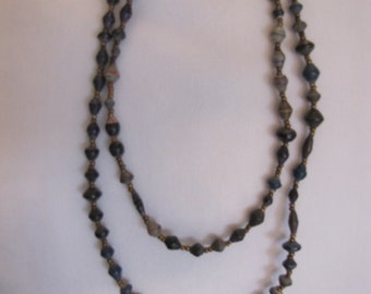 Extra long paper bead necklace/ deep blue
