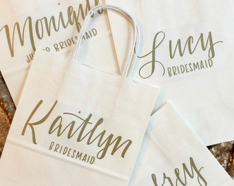 Set of 5 Personalized Gift Bags, Gold, White, Hand-lettered, Custom, Bridesmaid Gift, Bridal Party, Christmas