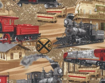 Yards-Timeless Treasures - Planes, Trains & Automobiles - Trains - Brown - Fabric By The Yard- C5124-BRN