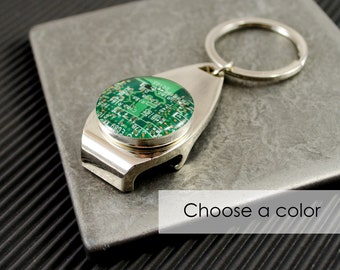 CHOOSE COLOR Circuit Board Bottle Opener Keychain, Computer Key Fob, Geek Beer Drinker Gift, Nerdy Housewarming Gift, Stocking Stuffer