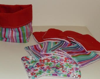 Washable wipes and matching cotton and sponge basket