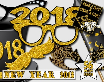 New Year Photo Booth Props New Year Party 2018 56 Props Black and Gold Glitter New Years Props Photobooth New Years Eve 2018 PBNY01