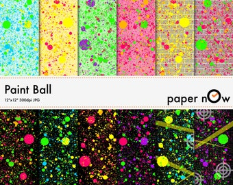 Paint Ball Digital Paper, Neon Paint Digital Paper, Colour Burst, Neon Digital Paper, Graffiti Digital Paper - Instant Download