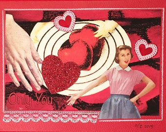 Original, Unique, Valentine Collage Mailable Art