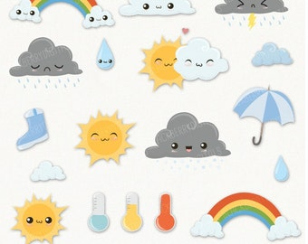 Weather clipart rainbow clipart weather party commercial weather clipart set cute weather clip art kawaii weather kawaii clipart kawaii voltagebd Image collections