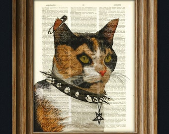 Lucipurr the Black Metal Kitty Goth Cat Calico with Pentagram illustration beautifully upcycled dictionary page book art print
