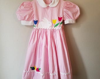 Vintage Girls Pink Gingham Easter Dress with Bunny Rabbit and Tulips and Rick Rack Trim- Sizes 4 and 5 - New, never worn