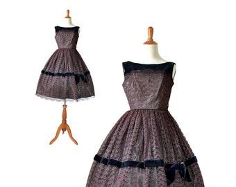 Prom Dress, 1950s Dress, 50s Dress Burgundy Party Dress, 50s Party Dress, Velvet Dress, Lace Dress, Womens 1950s Dress, XS 50s Dress, Small