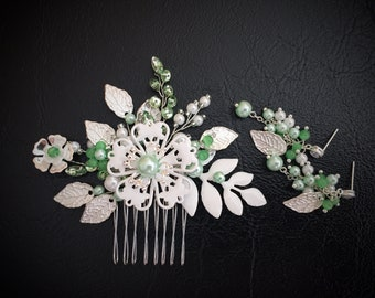 Green Wedding Bridal Hair Comb Sage Green Bridal Hair Clip Light Green Wedding Headpiece Summer Wedding Hair Piece