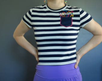 Navy Striped Hand-embroidered party crop top, XS-S
