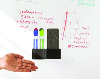 Dry Erase White Board Marker and Eraser Holder