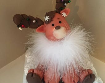 Handcrafted cold porcelain Christmas Reindeer Decoration