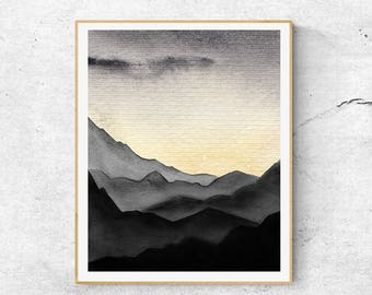 Abstract Mountain Watercolor Print, Sunset Watercolor Print, Mountain Art, Abstract Landscape Print, Modern Wall Art, Mountains Wall Art