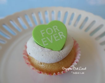 Fake Cupcake Faux Valentine Conversation Heart Candy FOREVER  Cake PINK