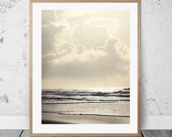Printable Photography, Beach Sunrise Photo, Coastal Art, Digital Download, Waves, Ocean