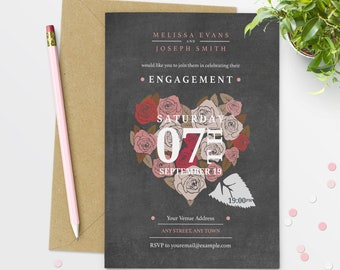 Engagement Chalkboard Engagement Party Invitations Chalkboard Engagement Invitations  #39-05