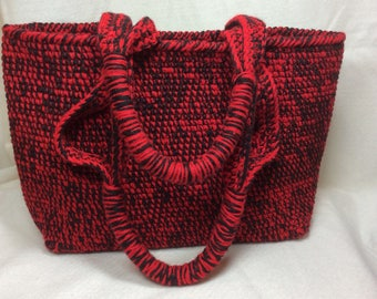 Red and Black Crocheted Tote Bag Makes a Perfect Gift for any Occasion