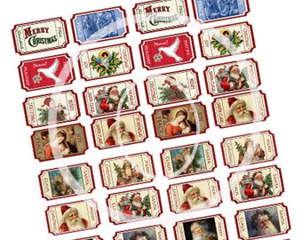 Christmas Tickets, Digital Holiday Tickets, Printable, Cards supplies, Mixed media, digital collage, Holiday gift Tags, scrapbook clip-art