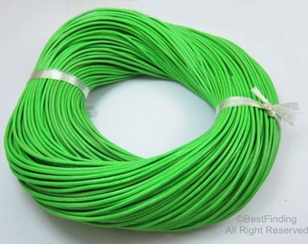 2mm Round Green leather cord Genuine 2mm leather cording for bracelet or necklace making