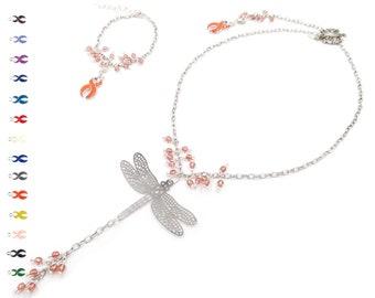 Handmade Silver Jewelry - Dragonfly Necklace - Inspirational Jewelry - Chain Bracelet - Jewelry Sets