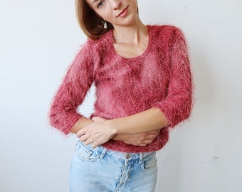 SALE! Fluffy Pink 90s Vintage Sweater
