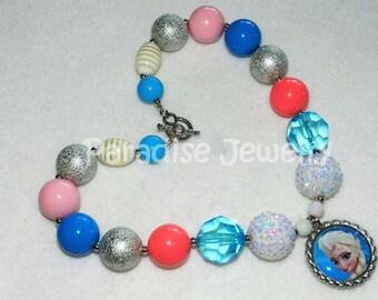 Elsa Frozen Necklace, Birthday, Bubble Gum Beads, Chunky Bead, Baby, Child, Disney Princess Party, Photo Prop