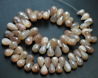 8 Inch Strand,Finest Quality,Mystic Rose Pink MOONSTONE Faceted Tear Drops Shape,7-8mm size