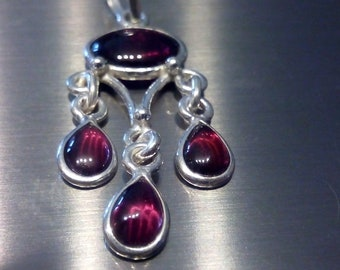 Pretty  garnet necklace, solid sterling silver,handmade,gift boxed