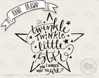 Star SVG Cut File, Twinkle Twinkle Little Star, Silhouette, Cricut Cutting File, Cut File, Download, DIY Nursery Art, Graphic Overlay