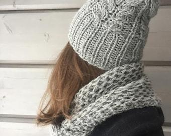 Cabled beanie NAOMI pdf knitting pattern