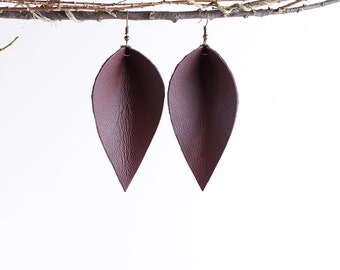 Leather Earrings / Leather Leaf Earrings / Burgundy / Inspired By Joanna Gaines Earrings / Magnolia Zia Style Leaf Earrings / Mother's Day