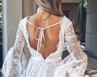 sample SALE / Primrose Gown  / Bohemain Wedding Dress / Lace Bohemian Gown / Boho wedding romantic