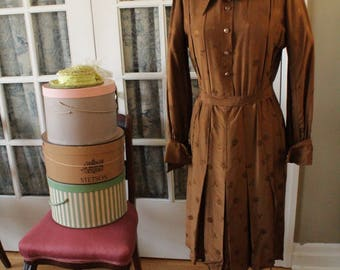 1950's Brown Chinoise Dress with Matching Belt