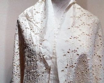 "160"" Shawl Length Vintage Creamy White Cutwork & Embroidered Silk Fabric, c. 1920"
