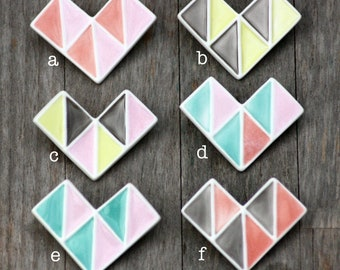 geometric porcelain brooch