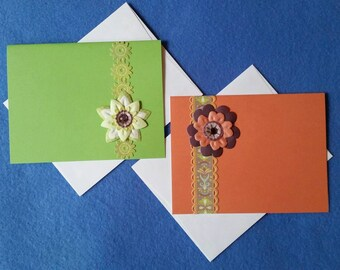 Two Colorful Blank Cards with 3D Flowers - lime green and orange, dimensional flower embellishments with rhinestones