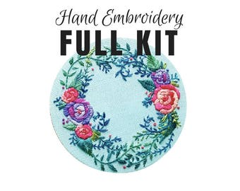 Hand Embroidery DIY Kit: Delicate Roses - Stitching Tutorial- Hand Dyed Silk Thread - Modern Contemporary Embroidery Design - DIY Hoop Art