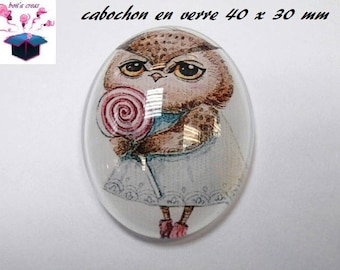 1 cabochon glass 40x30mm OWL theme