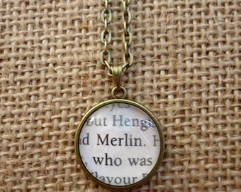 Merlin Book Page Necklace